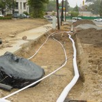 Drainage being installed along a city street